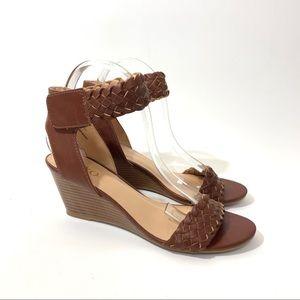 XOXO Sonnie Brown Wedge Sandals Braided Straps